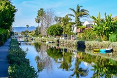 Colorful Venice Canals in Los Angeles, CA royalty free stock photo