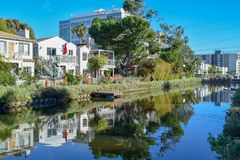 Colorful Venice Canals in Los Angeles, CA. Photography of the Venice Canals in Los Angeles. It was built in 1905 to recreate the appearance and feel of Venice stock images
