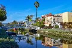 Colorful Venice Canals in Los Angeles, CA stock photo