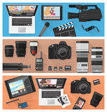 Photography and video making. Photograph, video making and photo editing banner set with professional equipment, laptops and camera, flat lay Stock Photos