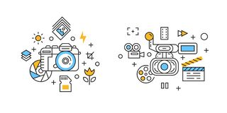 Photography and Videography Illustration. Filming and Cinematic Concept with Flat Line Design Doodle Style. Filming and Cinematic Concept with Flat Line Design vector illustration