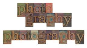 Photography in vintage letterpress type Stock Photos