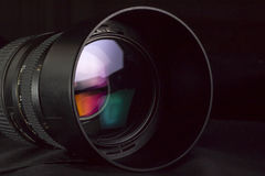 Photography vision concept. Telephoto lens aperture with nice reflections. Photography vision concept royalty free stock images