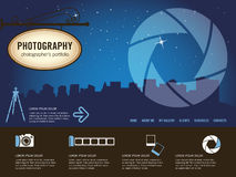 Photography website template. Photography retro website template, illustration Royalty Free Stock Photo