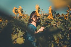 Photography of Woman Holding Sunflower royalty free stock photo