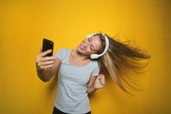 Photography of a Woman Listening to Music Royalty Free Stock Photography