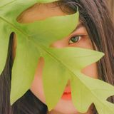 Photography of Woman Near Leaf Stock Photo