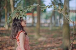 Photography of a Woman Standing Near Leaves