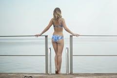 Photography of a Woman Wearing Blue Bikini Stock Photography