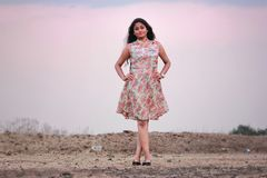 Photography of a Woman Wearing Pink And White Dress Stock Images