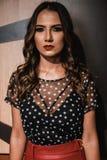 Photography of a Woman Wearing Polka-dot Shirt Stock Image