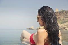 Photography of a Woman Wearing Red Bikini Royalty Free Stock Image