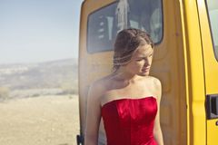 Photography of a Woman Wearing Red Dress Stock Photo