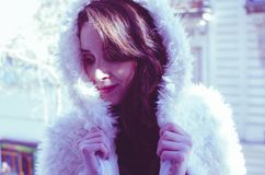 Photography of a Woman in White Fur Coat royalty free stock images