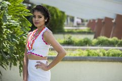 Photography Of Woman In White Sleeveless Two-piece Dress stock image