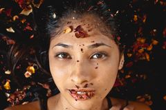 Photography of Woman Whose Lying on Dried Leaves Stock Image