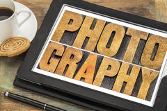 Photography word abstract on tablet Stock Photos