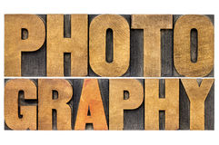 Photography word abstract in wood type Royalty Free Stock Image
