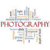 Photography word cloud concept. With great terms such as dslr, film, photographer, model, iso,  strobes, flash and more Stock Photography