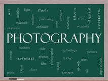 Photography word cloud concept on a blackboard. With great terms such as dslr, photographer, model, iso,  strobes, flash and more Stock Image