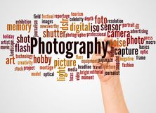Photography word cloud and hand with marker concept. On white background royalty free stock image