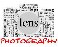 Photography word concept in camera shape. Photography Word Cloud Concept inside a camera shape with great terms such as lens, dslr, art, photographer, model, iso Royalty Free Stock Photos