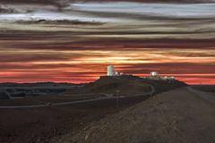 Haleakala Observatory with Colorful Sunrise in Maui, Hawaii. stock photography