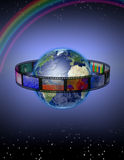 Photograpic World. Photo Film Strip Encircles Earth Royalty Free Stock Images