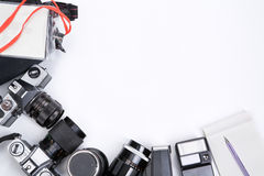 Photojournalism equipment frame royalty free stock images