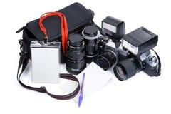 Photojournalism equipments stock image