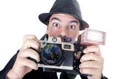 Photojournalist. Vintage photojournalist on white background Royalty Free Stock Images