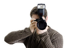 Photojournalist holding camera Stock Image