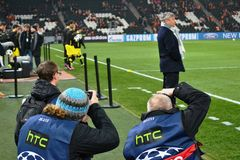 Photojournalists at Donbass Arena Royalty Free Stock Images