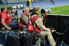 Photojournalists during the match Royalty Free Stock Photography
