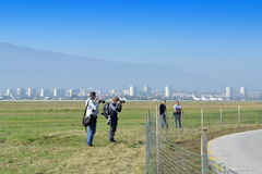 Photojournalists Sofia Airport royalty free stock photo