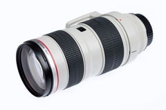 Photolens. Long focal photographic lens on isolated background Stock Images