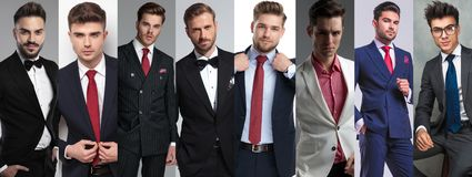 Photomontage of eight young casual men posing stock photo