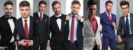 Photomontage van acht het jonge toevallige mensen stellen stock foto