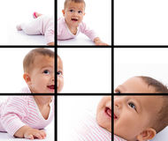 Photomontage of young adorable baby smiling Stock Images