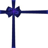 Photorealistic blue silk bow. Stock Photo