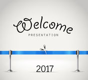 Photorealistic bright stage with projectors and blue ribbon. Presentation vector template. Vector stage Stock Image