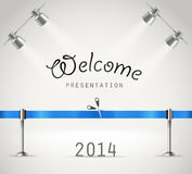 Photorealistic bright stage with projectors and re. D ribbon. Presentation vector template Royalty Free Stock Photo