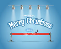 Photorealistic bright stage. With projectors and red ribbon. Chtristmas greetings Royalty Free Stock Photo