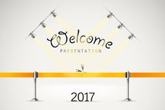 Photorealistic bright stage with projectors and ribbon. Presentation vector template. Vector stage Stock Photos