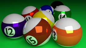 Photorealistic 3d render of all half balls and black ball isolat Royalty Free Stock Images
