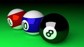 Photorealistic 3d render of pool balls  on green. Billia Royalty Free Stock Image