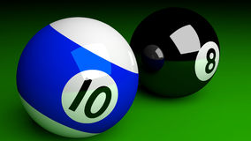 Photorealistic 3d render of pool balls isolated on green. Billia Stock Image