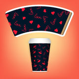 Photorealistic 3D Vector EPS10 Paper Coffee Cup Mockup Set. Vector Template. Take away utensil, tableware. Hot drinks Royalty Free Stock Images