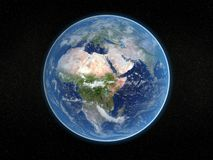 Photorealistic earth. Photorealistic 3D rendering of planet earth viewed from space (Africa and Europe Royalty Free Stock Photos