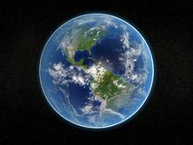 Photorealistic earth. Photorealistic 3D rendering of planet earth viewed from space (America Royalty Free Stock Images